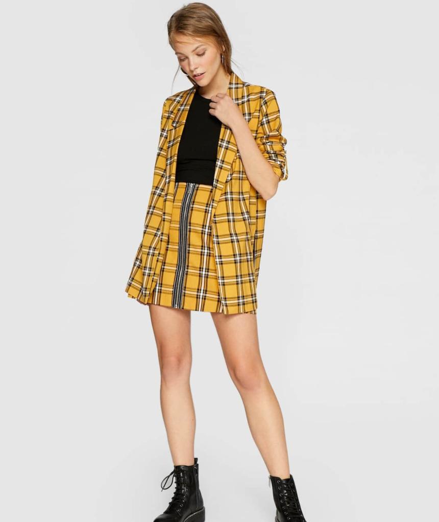 Checked mini skirt with zip